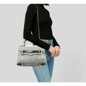 Rebecca Minkoff Gray Leather Flap Shoulder Bag Top